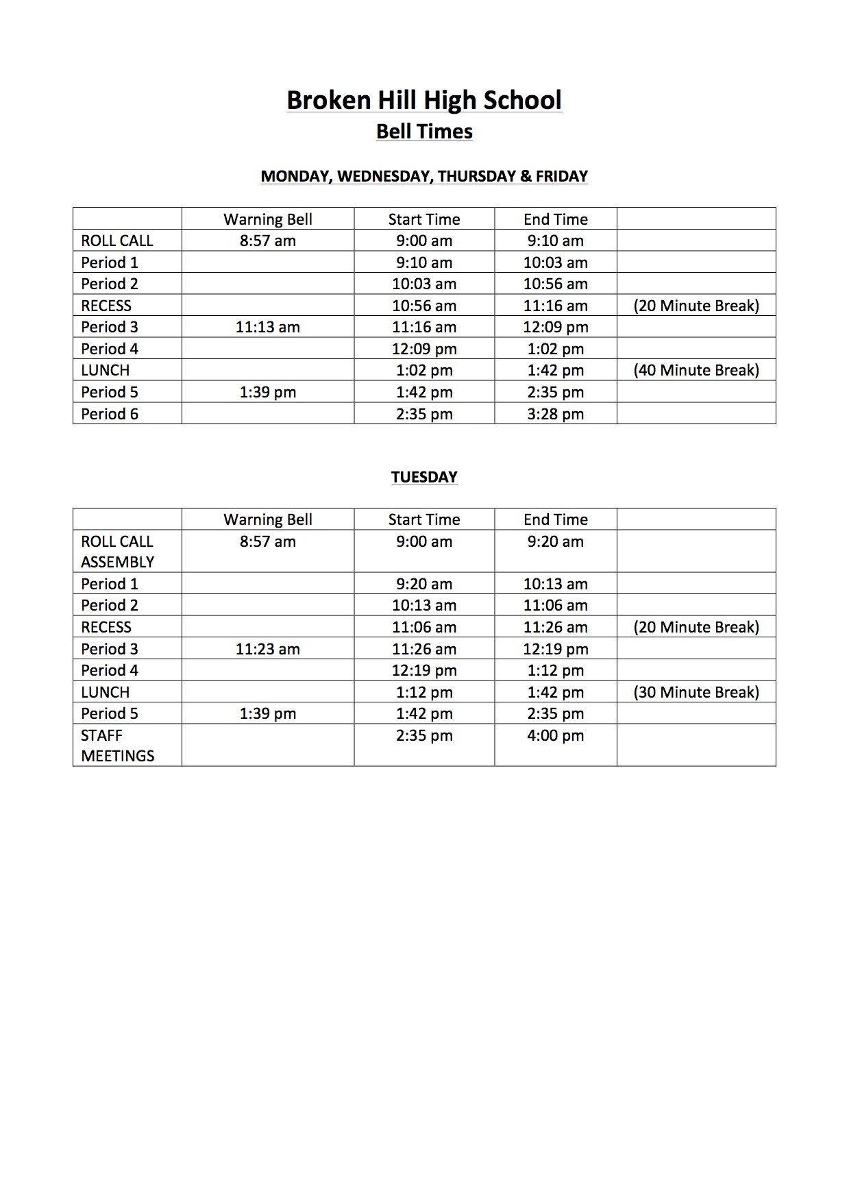 BHHS Bell Times